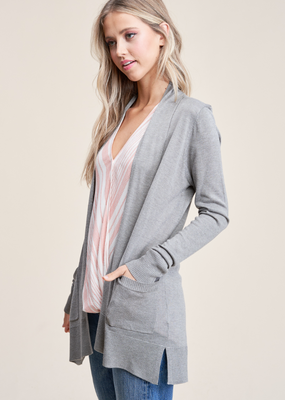 Staccato Open Front Heather Grey Cardigan