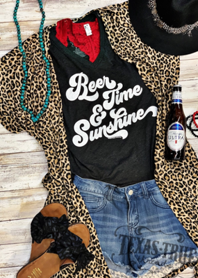 TTT Beer Time & Sunshine Charcoal V-Neck