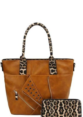 Applejuice Camel Cheetah Studded Handbag with Wallet