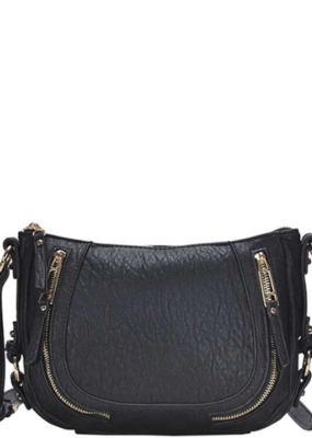 Applejuice Black Fashion Zipper Crossbody Bag