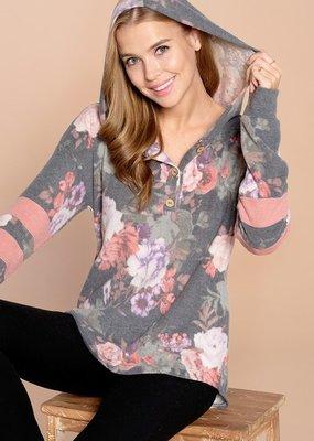 Oddi Floral Print Hoodie Varsity Sleeve (S-3XL)