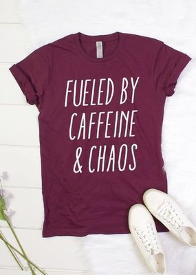 Color Bear Fueled By Caffeine and Chaos Tee