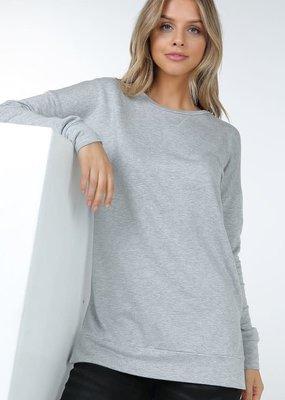 Shop Basic USA Long Sleeve French Terry Top - Heather Grey