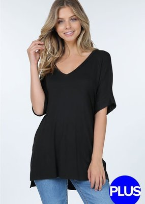 Shop Basic USA Charcoal Basic V-Neck OVERSIZED Top (S-3XL)