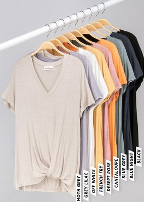 trend notes Solid V-Neck Twist Tee