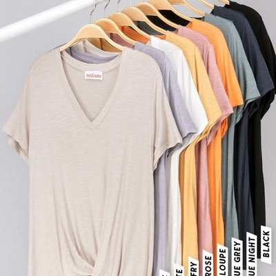 trend notes Solid V-Neck Twist Tee (S & M)