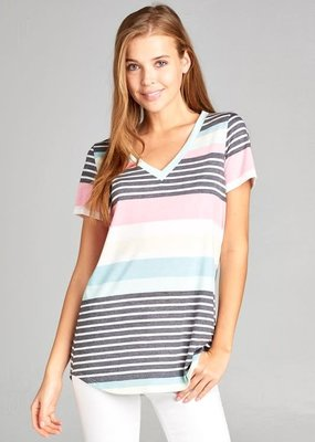 Vanilla Bay Rainbow Stripe V-Neck (S & L)