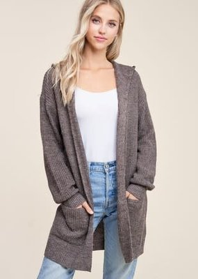 Staccato Hooded Knit Cardigan (2 COLORS)