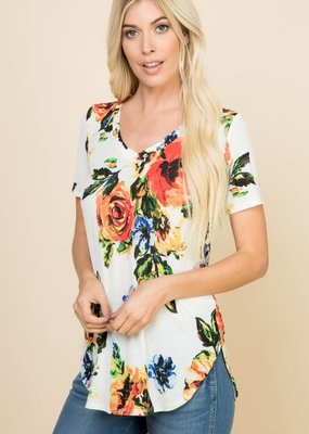 a. gain Floral V-Neck Short Sleeve Top