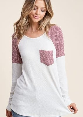 Staccato Burgundy Ivory Raglan Long Sleeve Top (S-L)