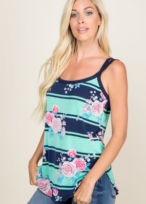 a. gain Floral Stripe Double Strap Tank (Pink or Mint)