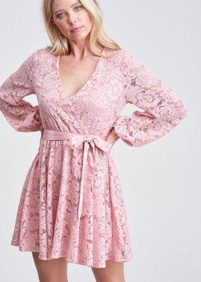 White Birch Blush Lace Wrap Dress