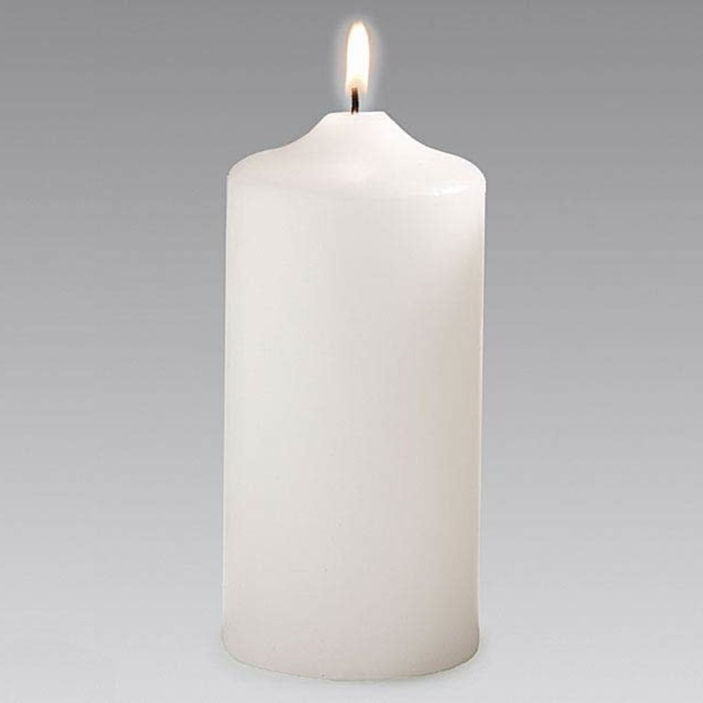 "Burton and Burton 6"" White Pillar Candle"