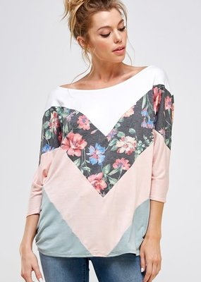 a. gain Pink Gray Floral Top