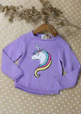 Sissy Mini Girls Purple Unicorn Sweater