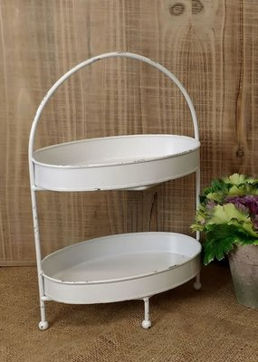 Mullberry White Two Tiered Oval Tray