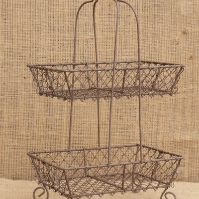 Mullberry Wire Two Tier Wood Handle Basket
