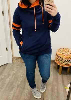 AMPERSAND AVE Navy Orange Track Stripe Double Hood - Ampersand Ave (M-3XL)