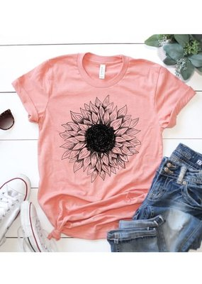 Kissed Apparel Heather Pink Sunflower Graphic Tee (S-XL)