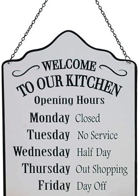 Mullberry Kitchen Hours Metal Sign