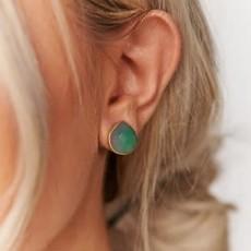 Boholove Gold Emerald Teardrop Earrings