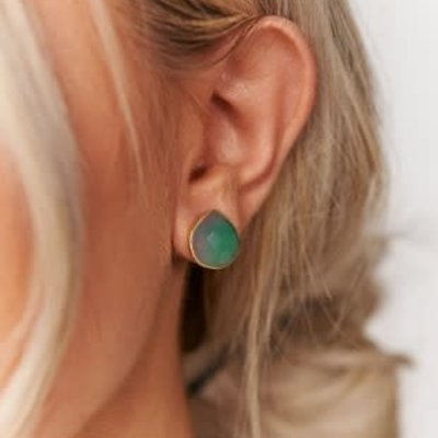 Boholove Gold Emerald Teardrop Earrings