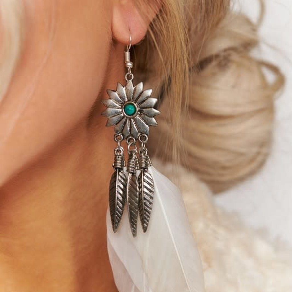 Boholove Silver White Feather Earring