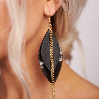 Boholove Black Gold Chain Leather Earring