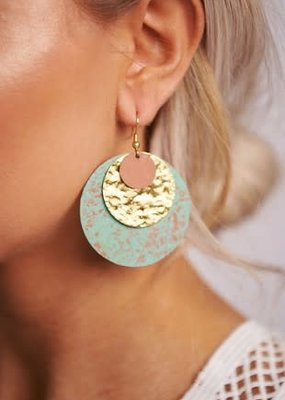 Boholove Gold Rust Turquoise Circle Earrings