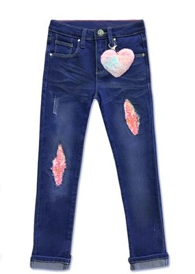 Cutie Pa Tootie Girls Blueberry Sequin Patch Jeans (4-14)