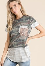 Vanilla Bay Short Sleeve Camo Print Sequins Top