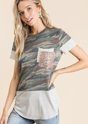 Vanilla Bay Short Sleeve Camo Print Sequins Top