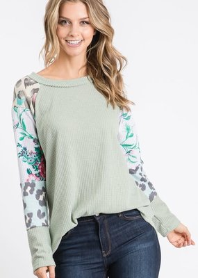 Hailey & Co Spring Sage Waffle Knit Top (S-3XL)