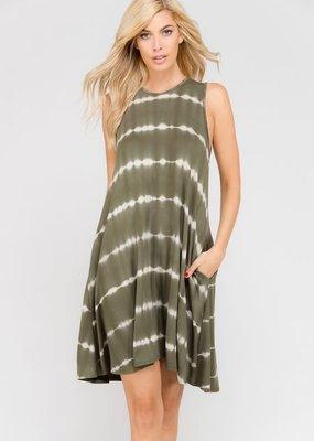 a. gain Green Tie Dye Sleeveless Dress (S-L)