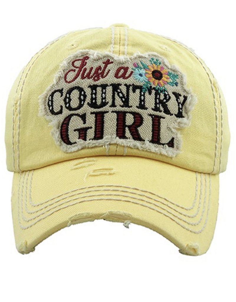 Country Girl Vintage Hat Yellow