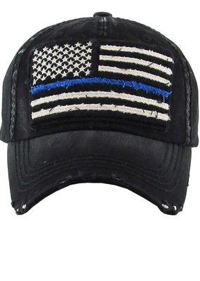 Too Too Hat Thin Blue Line Vintage Black Hat