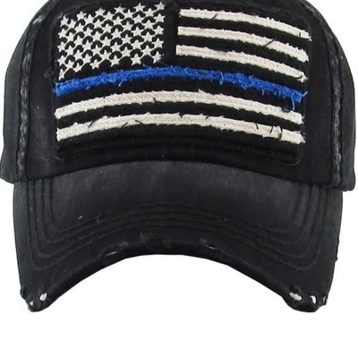 Too Too Hat Thin Blue Line Vintage Black Hat
