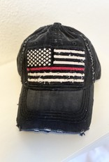 Too Too Hat Thin Red Line Distressed Hat