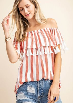 Kori White and Rust off the Shoulder w/ Tassels (S-L)