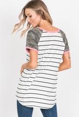 Heimish USA Ivory/Black Stripe Top w/ Camo Contrast (S-3X)