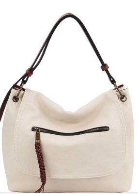 Applejuice Vegan Leather Zipper Flap Satchel (Beige, Brown, Mustard)