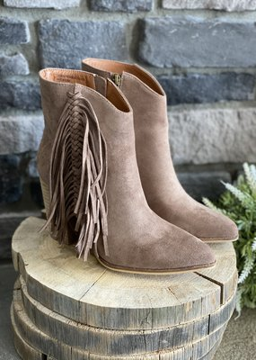 Beast Fashion Taupe Short Booties with Fringe