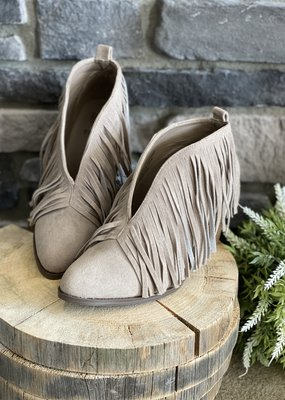 Beast Fashion Taupe Ankle Fringed Bootie (5.5 only)