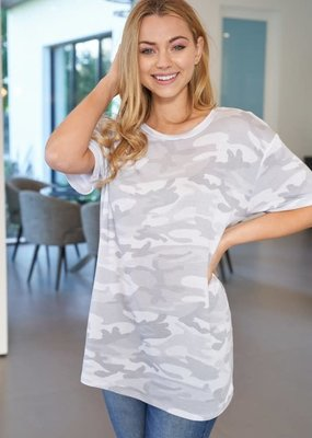 White Birch Oversized Grey Camo Tee