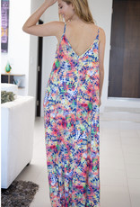 White Birch Tie Dye Maxi V-Neck Dress