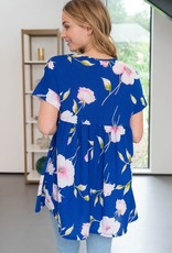 White Birch Royal Blue Floral Top