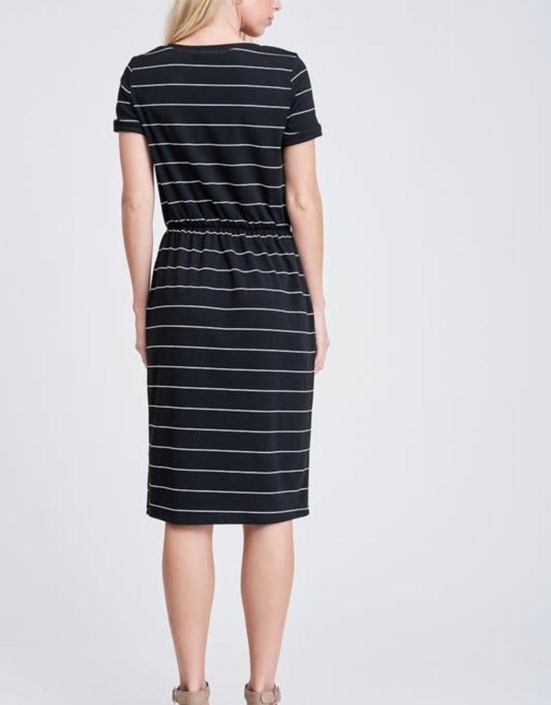 White Birch Black Stripe Dress with Pockets