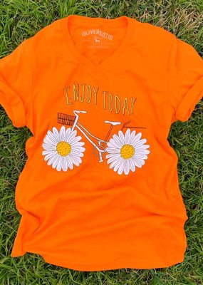 "LTB Orange ""Enjoy Today"" Daisy Tee"