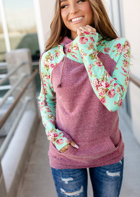 AMPERSAND AVE Berry Floral DoubleHood - Ampersand Ave (XS-3XL)
