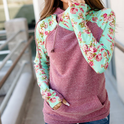 AMPERSAND AVE Berry Floral DoubleHood - Ampersand Ave (3XL only)